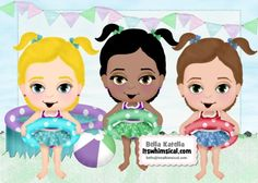 #Free Digi #Card #Kit to the first 100 people! Happy 4th of July!!   Kits inlcudes the three girls, background mats, pool, beach ball, banner. 300 DPI  Transparent PNG files and Jpegs. Personal Use Only.