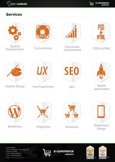 The major services of the company include:  •Build and develop -  online stores, build,    develop, maintain  •Responsive Design  •All kinds of Integrations  •Speed Optimization  •User Experience solutions  •SEO  •Conversion improvements  •Multistore  •S.O.S service – bug hunting, 24h alert   service  •PSD to HTML  •Graphic Design  •Wordpress  •We can also offer Magento extensions and modules tailored to your needs