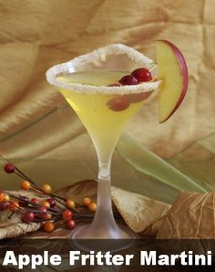 APPLE FRITTER MARTINI!!  3 oz apple juice  1 1/2 oz  glazed donut vodka  1 tsp maple syrup  cinnamon and sugar  1 apple slice  ice  In a shaker, combine apple juice, glazed donut vodka, maple syrup, and ice, then shake  Strain into Smarty's 5.3 oz Onde Thick Plastic Martini Glasses  Cover glass rim with cinnamon and sugar  Garnish with apple slice