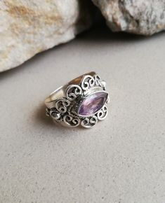 Amethyst Jewellery – Amethyst Silver Ring, Delicate Ring,Fantastic Ring – a unique product by Midas-Jewelry on DaWanda Amethyst Jewelry, Amethyst Gemstone, Sterling Silver Jewelry, Gold Jewelry, Jewellery, Claddagh Rings, Delicate Rings, Locket Necklace, Jewelry Findings