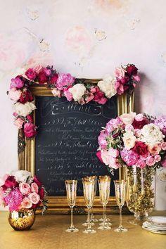 Flower garland Gold Wedding, pink red gold wedding
