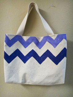 Hand Painted Purple Chevron Glitter Canvas Tote Bag by whitsybags, $40.00
