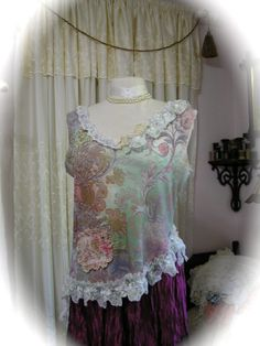 Shabby Cottage Top refashioned shabby Paris romantic by Dede of TatteredDelicates @Etsy