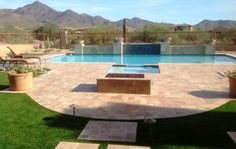 Extraordinary Pool Deck Coatings Phoenix with Rectangle Fire Pit ...
