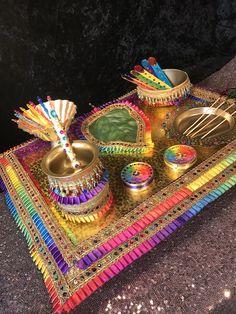 This gorgeous Mehndi plate is perfect for all you Mehndi Rasams Desi Wedding Decor, Wedding Decorations, Wedding Wows, Colour Schemes, Mehndi, Favors, Wings, Rainbow, Plates