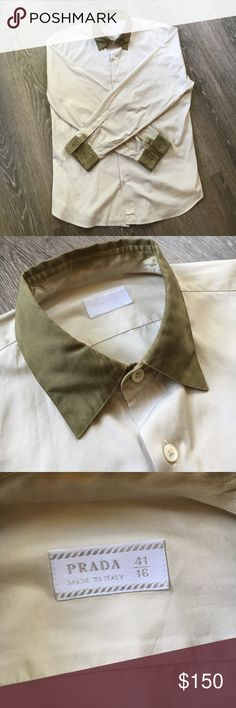 PRADA Date Shirt SHARP Prada button down! This shirt is dope as hell and is perfect for going on dates, church, cocktail parties, or just high-fashion street style🙏🏻 granted you need cufflinks to button the sleeves, this item is a smooth, hand-dyed forest green that will make you look extra masculine and extra sharp. Trust me, this shirt will not let you down🔥 guaranteed success with any man, woman, or both🙏🏻👌🏼🤘🏻😈😏💯 drop me an offer!! Prada Shirts Dress Shirts
