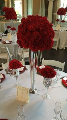 35 Amazing Red and White Centerpieces For Weddings | Wedding Table ...