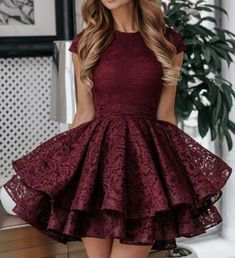 A-Line Round Neck Short Red Lace Homecoming Dress Lace Homecoming Dresses, Hoco Dresses, Dresses For Teens, Sexy Dresses, Summer Dresses, Short Dresses For Prom, Wedding Dresses, Unique Dresses Short, Casual Dresses