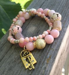 Coral stretch bracelets, pink and gold bracelets, bracelet set, coral and gold, stretch bracelets, arm candy,summer trendy jewelry, handmade on Etsy, $19.00