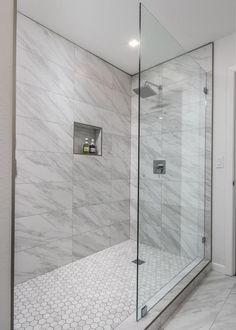 Singing in the rain Master Bathroom Shower, Bathroom Shower Remodel, Bathroom Tile Showers, Glass Showers, Marble Showers, Bathtub Remodel, Bathroom Design Small, Bathroom Interior Design, Modern Marble Bathroom