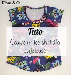 Sew a serger t-shirt (step by step) – Momo & Co Diy Shirt Print, T Shirt Diy, Tee Shirts, Tees, Dress Shirts, Diy Clothes, Clothes For Women, Diy Kleidung, Couture Tops