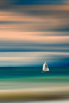 Sailboat by Vasilis Athanasopoulos Abstract Photography, Landscape Photography, Sailboat Painting, Boat Art, Beach Pictures, Beautiful Landscapes, Landscape Paintings, Scenery, Beautiful Pictures
