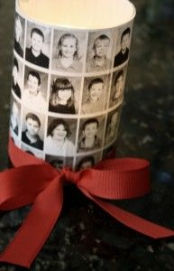 Photocopies of yearbook pages from your home computer on regular paper stock.  Scissors to trim  Glass votive, mason jar, or clear glass cup  Mod Podge  Brush  Ribbon in school color  Candle/ candy to fill it  Brush a coat of Mod Podge over the entire outside of the glass jar…  Carefully apply the yearbook photos  Go over the photos with another coat of the Mod Podge and let it dry thoroughly…tie and ribbon, fill it with candle or candy… and TA-DA