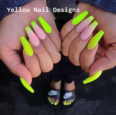 23 Great Yellow Nail Art Designs 2019 - Yellow Nail Art - Best Nail World Neon Nail Designs, French Tip Nail Designs, Cute Acrylic Nail Designs, Best Acrylic Nails, French Tip Nails, French Tips, Acrylic Art, Neon Nails, Pink Nails