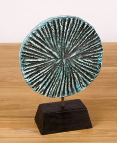 "6"" Diameter Circle on Timber Style#12507-39 - $30/each (shipping, not included) – Charming little statuesque circle in turquoise for table display.  For more information, please contact info@blueleafmiami.com or visit our website: www.blueleafmiami.com"