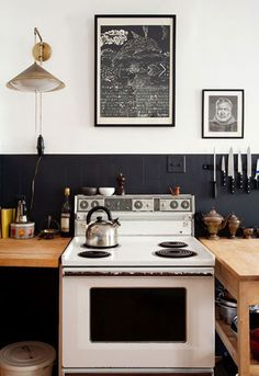cool kitchen - black, white, wood, industrial, cottage
