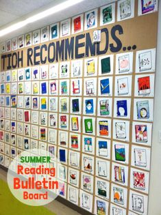 School wide summer reading bulletin board. Every student submits a square of their favorite book they read this summer. Promotes love of reading and all students can get ideas for what to read next!!