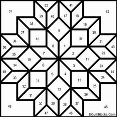 Carpenter's Wheel pattern for quilting.paper piecing two rosesOK Carpenters Star - Yahoo Image Search ResultsCarpenter's Whee eight point star I seem to have a thing for eight point stars. More Más Barn Quilt Designs, Barn Quilt Patterns, Paper Piecing Patterns, Pattern Blocks, Quilting Designs, Patchwork Quilting, Amische Quilts, Painted Barn Quilts, Stained Glass Quilt