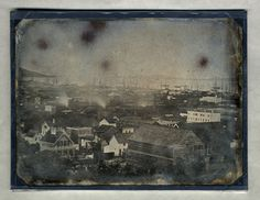 View of San Francisco, California., ca. 1855. Whole plate. The Society owns a set of three whole plates depicting early San Francisco including this view of the harbor, a view of the hills with Tehama Market and a view of a residential area of the city.