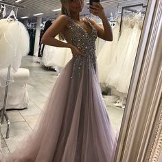 Sparkling Long Prom Dresses 2017 Plunging Neckline Sexy A line Party Gowns Soft Tulle V neck Prom Dress for Special Occasion, New Design Prom Dress