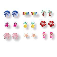 Aloha Stud Earrings Set of 9