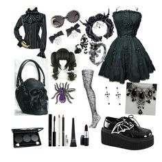 """""""Not Sure...But I Like It"""" by june-batty ❤ liked on Polyvore featuring Demonia, NYX, Maybelline, MAC Cosmetics and Topshop"""