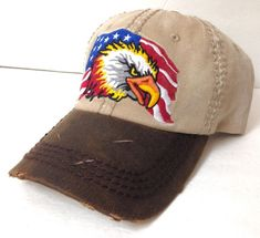 9aadd9c50f3 Distressed Leather AMERICAN FLAG BALD EAGLE HAT Brown Tan Dad Cap Men Women  USA  KBETHOS  BaseballCap