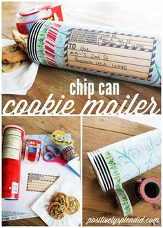 A tutorial for how to create a cookie mailer using an empty chip can. MichaelsMakers Positively Splendid