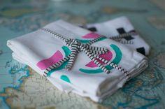 DIY Hand stamped tea towels - patchwork cactus