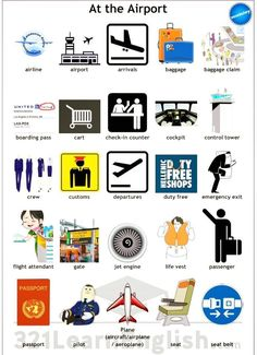 Vocabulary at the Airport Grammar And Vocabulary, English Vocabulary Words, Learn English Words, English Lessons, English Grammar, English Language Learning, Learning Spanish, Teaching English, Travel English