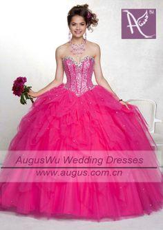 Hot Pink Sweet 16 Dresses | ball gown sweet sixteen hot pink ruffled organza quinceanera dresses ...