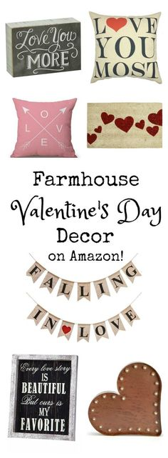 """If you love the """"Farmhouse"""" look, you'll love these simple home decor items that are perfect for Valentine's Day! The best part? It's all on Amazon! Hello, 2 day shipping!"""