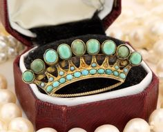 Antique C. 1860 Victorian 18k Yellow Gold Blue Turquoise Crown Pin Brooch!