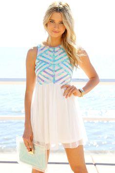 Pastel Lattice Dress - White
