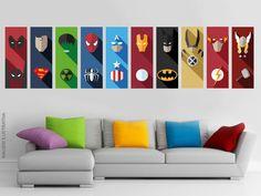 Compre 10 Adesivos de Parede Heróis Minimalista 3D 26x70cm no Elo7 por R$ 275,00 | Encontre mais produtos de Adesivos de Parede e Decoração parcelando em até 12 vezes | Adesivos de Parede Super Heróis - Efeito 3D:    Adesivos Super Heróis são uma ótima opção para compor a sua decoração, e..., 88E4D6 Boys Bedroom Decor, Bedroom Themes, Marvel Canvas Art, Avengers Bedroom, Batman Drawing, Kids Canvas Art, Superhero Wall Art, Nerd Room, Kids Room Design