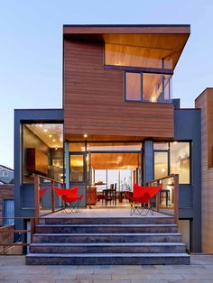 Gerry Agosta and Lisa Moresco bought a modest house in San Francisco and expanded it into an open, modern home with warm materials. Many houses in San Francisco are built on narrow lots, and interior rooms can be light-deprived. The architect, Owen Kennerly, installed a skylight to solve that problem.