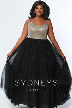 c11c369ec40 Sydneys Closet Long Gold Bodice Prom Plus Size Dress w  Tulle Skirt