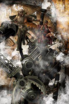 Sunday Drive Original Artwork Print [ASB-PRINT-0002] - $30.00 : The Airship Bismarck, Fine Quality Steampunk Masks, Goggles, and Accessories