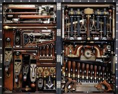 "The Studley Tool Chest    ""Born in 1838 in Massachusetts, Henry O. Studley is best known for creating the so-called Studley Tool Chest, a wall hanging tool chest which cunningly holds some 300 tools in a space that takes up about 40 inches by 20 inches of wall space when closed."""