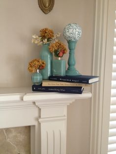 Fireplace decor. Great idea to add style & colour