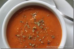 Simple, inexpensive tomato soup ready in 10 minutes and full of real food ingredients you can find at any store. Dairy-free version too! Dairy Free Tomato Soup, Quick Tomato Soup, Tomato Soup Recipes, Real Food Recipes, Snack Recipes, Healthy Recipes, Real Foods, Snacks, Healthy Meals