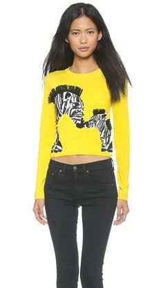 alice + olivia Khan Zebra Love Cropped Sweater   Pretty Little Liars