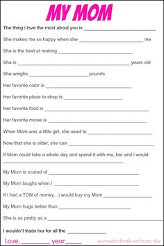 printable mom questions
