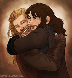 spader7: collab with darling nightmarenosh  where i did happy fili and she did snuggable kili<3 so much fun and jfc i want them to hug all the time forever uwu So this is my absolute favorite fanart of these two—it's too precious!