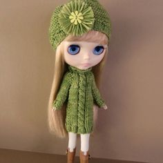 Lime Green Variegated Sweater Dress Hat and Tights by myfairdolly, $26.00