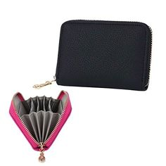 Womens Genuine Soft Leather Zipper Card Case Wallet Black >>> Continue to the product at the image link.