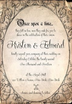 Storybook fairytale once upon a time wedding Invitation