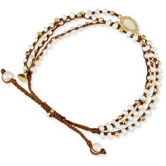 Tai 3-Strand Mother-of-Pearl Beaded Bracelet (490 RON) ❤ liked on Polyvore featuring jewelry, bracelets, white, bracelet bangle, white braided bracelet, braided bead bracelet, adjustable cord bracelet and cord bracelet