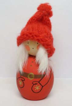 Vintage Sweden Hand Painted Wooden Wood Winter Swedish Girl Christmas Figurine | eBay