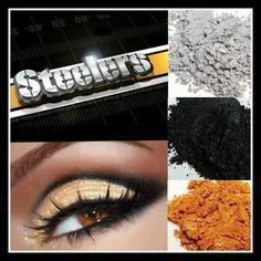 Steeler Fan! Team Spirit! Younique All Natural Mineral Eye Pigments. Use pigments dry for a subtle look, use them wet for a bold look that every female Pittsburgh fan would be proud of!! Click to find these shades! https://www.youniqueproducts.com/chantillykessler/party/582620/view